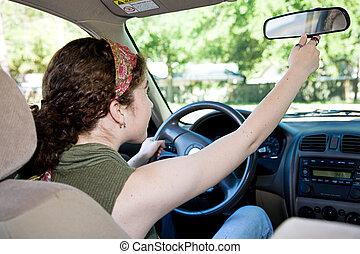 sofőr, tükör, szabályozó, tízenéves kor, rearview