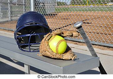 softball labdajáték, üt, kesztyű, sárga, sisak