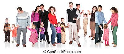 sok, csoport, elszigetelt, család, gyerekek