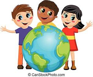 sok nemzetiségű, földdel feltölt, gyerekek, gyerekek, elszigetelt