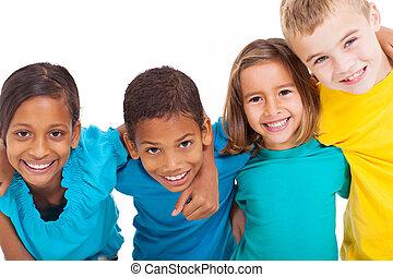sok nemzetiségű, gyerekek, csoport