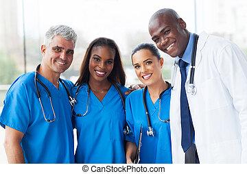 sok nemzetiségű, orvosi, csoport, kórház, befog