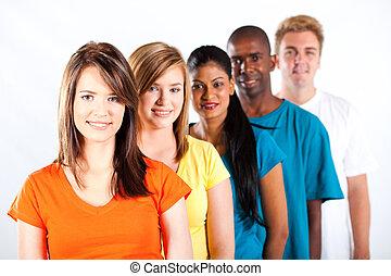 sok nemzetiségű, young emberek, csoport