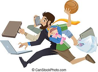 sok, szuper, elfoglalt, karikatúra, ember, egyszerre több feladatot ellátni képes, atya, művek