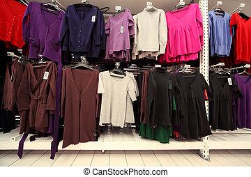 sokszínű, öltözet, mez, sweatshirts, nők, belső, bolt, nagy
