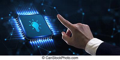solution., ügy, fény, technológia, gumó, újítás, concept., networking, internet