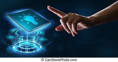 solution., gumó, technológia, internet, újítás, ügy, fény, networking, concept.