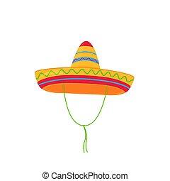 sombrero., elszigetelt, vektor, háttér, mexikói, white kalap