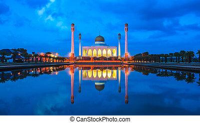 songkhla, központi, hatyai, songkhla, éjszaka, thaiföld, mecset