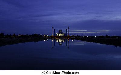 songkhla, központi, mecset, thaiföld, félhomály