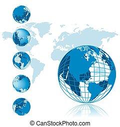 sorozat, földgolyó, 3, térkép, világ