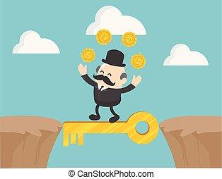 sought, főnök, pénz, ő, üzletember, ábra, gyalogló, sziklák, pleasure., varázslatos, között, vektor, keys., fogalom