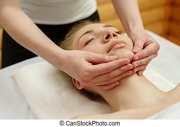 spa., client's, gyógyász, áll, masszázs, masszázs