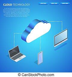 space., technológia, derékszögben, másol, felhő, transzparens