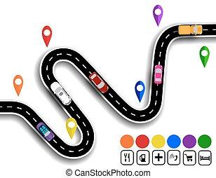 specifies, cars., ábra, kanyargás, signs., út, navigator., út, mozgalom