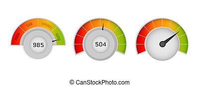 speedometers., vektor, ügy, hitel, bemetsz