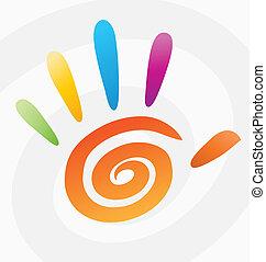 spirál, elvont, vektor, színezett, kéz