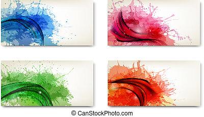splashes., vízfestmény, elvont, szalagcímek, vector.