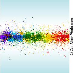 splashes., vektor, háttér, festék, gradiens, szín