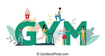 sport, ábra, emberek, gyakorlás, lakás, állóképesség, vektor, isolated., tornaterem