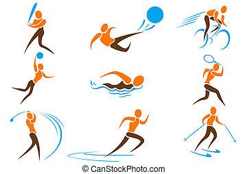sport, állhatatos, ikon