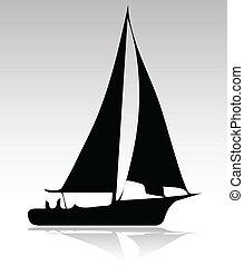 sport, árnykép, változat, csónakázik