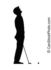sport, csalódott, elszigeteltség, árnykép, elveszett, golfjátékos, dobás