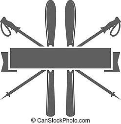 sport, emblem., ikon, síel, insignia., vektor, design., jelkép., vadon, címke, üres, jel, badge., kempingezés, tél, template., felfedező, kaland, hódeszka, szüret, külső, csípőre szabott, utazás, hegy