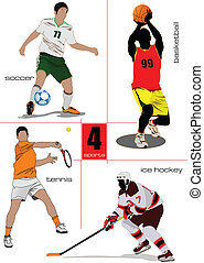 sport, footbal, games., négy, kinds