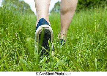 sport, gyalogló, fű, zöld, cipők