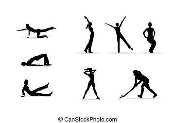 sport, körvonal, nő, állóképesség