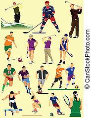 sport, labdarúgás, kevés, games., kinds