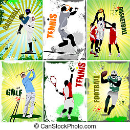 sport, labdarúgás, posters., hat, baseb