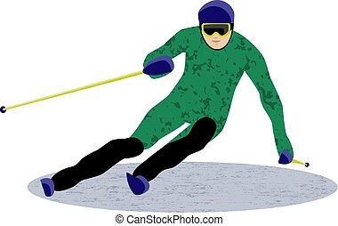 sport, műlesiklás, downhill síléc
