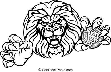 sport, oroszlán, labda, golf, kabala