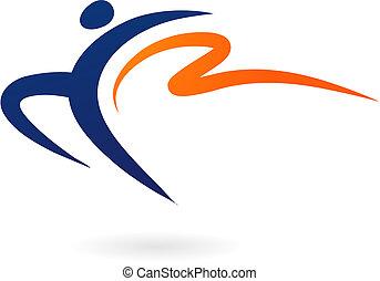 sport, -, vektor, testedzés, alak