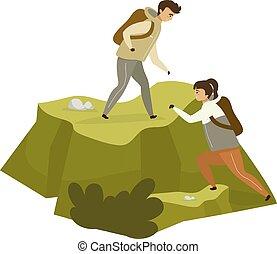 sportkocsik, szín, fehér, nő, ember, hegy, rock., hegy, karikatúra, háttér, elszigetelt, betű, hegymászás, párosít, peak., természetjáró, mászó, illustration., lakás, expedition., vektor