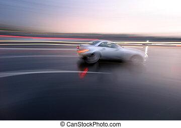 sportszerű, gyorsan, elken szándék, mozgató, autó