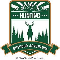 sportszerű, tervezés, kaland, vadászat, ikon