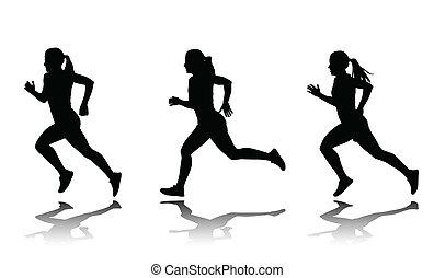 sprinter, árnykép, női