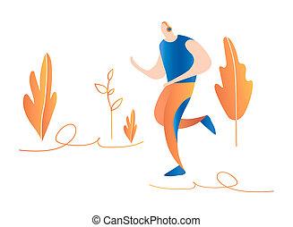 sprinter., természet, futás, men., hím, karikatúra