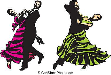 standard, latino, -, bálterem táncol