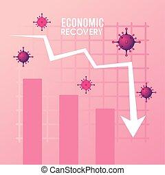 statisztika, felépülés, nyíl, gazdasági, poszter, particles, covid19, vírus