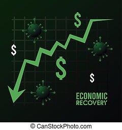 statisztika, felépülés, nyíl, lefelé, gazdasági, jelkép, poszter, particles, covid19, dollárok, vírus