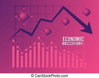 statisztika, felépülés, nyíl, lefelé, gazdasági, poszter, particles, covid19, vírus