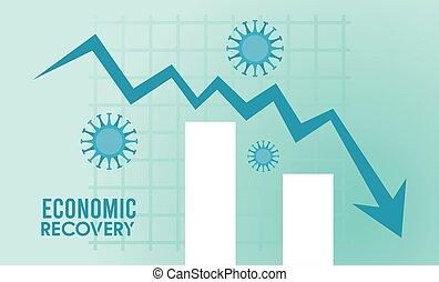 statisztika, felépülés, nyíl, lefelé, gazdasági, rács, poszter, particles, covid19, vírus