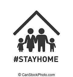 stayhome, icon., vektor, család, roof., aláír, oltalom, alatt, coronavirus, hashtag
