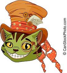 steampunk, tető, cheshire, kalap, macska
