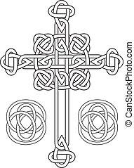 stencil, összegubancolódott, vektor, celtic kereszteződnek