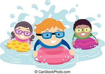 stickman, bizottság, ábra, evez, gyerekek, úszás